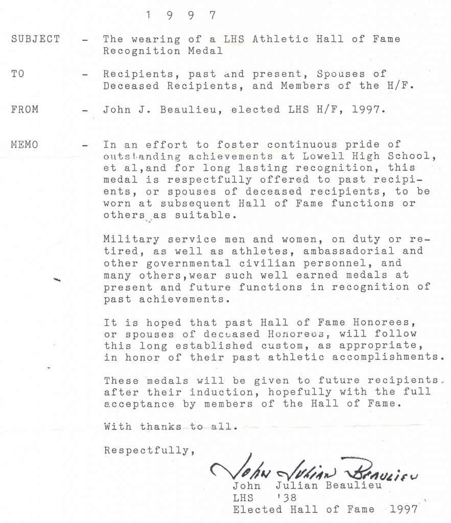 Memo establishing the medal tradiiton for the Athletic Hall of Fame